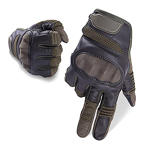 AMOSTBY Touch Screen Motorcycle Gloves for Men Military,Hard Knuckle Paintball Gloves,Full Finger Tactical Gloves for Cycling,Shooting,Airsoft (Large,Olive)