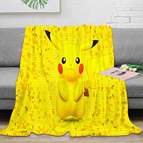 Elliot Dorothy Pikachu pokemon de dibujos animados de TV Impreso Ropa de cama Manta reversible acogedora manta de cama 152,4 x 50 pulgadas