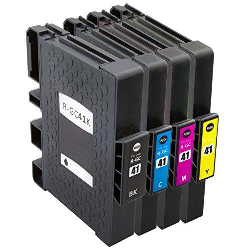 4 Tintenpatronen wie Ricoh GC-41 black (XL), cyan (XL), magenta (XL), yellow (XL) für Aficio SG 3100, snw, 3110 dn, dnw, n, SFNw, 3120 B SF, B SFN, B SFNw, 7100 dn