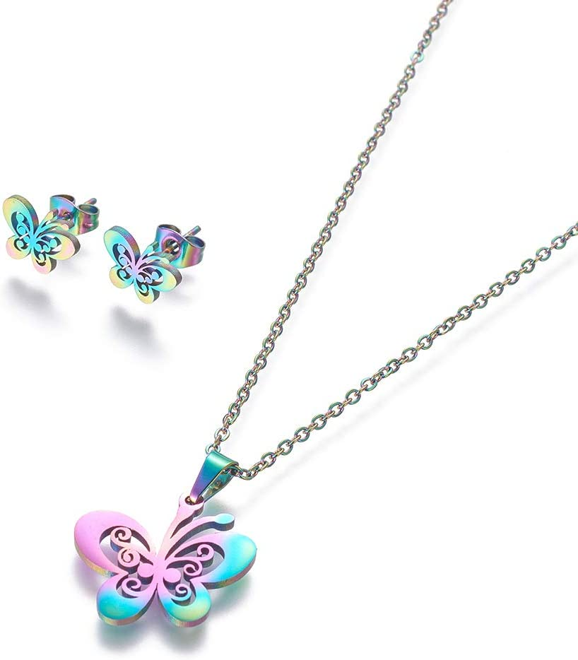UNICRAFTALE 1 Set Hollow Butterfly Pendant Necklaces and Stud Earrings About 17.7in Mixed Color Necklace Earrings Stainless Steel Jewelry Sets Women Stud Earrings Pendant Necklace