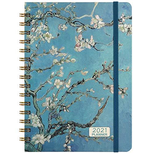 Kalender 2021 - A5 Wochenplaner mit Monatlichen Registerkarten, 15 x 21cm Blumenhülle Lebensplaner