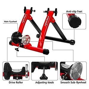 """unisky Rodillo Bicicleta Magnético de Ciclismo Rodillo Entrenamiento Bicicleta para Ruedas de 26""""-28"""" o 700C, Plegable y Silencioso Bike Trainer para Ejercicios Ciclismo en Casa, Rojo"""