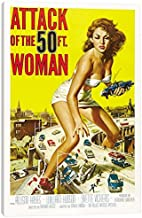 """iCanvasART Attack of the 50 Foot Woman Vintage Movie Poster Canvas Print, 12"""" x 8"""""""