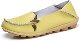 Robasiom Women's Leather Loafers Breathable Slip on Soft Driving Moccasin Casual Comfortable Walking Flat Shoes
