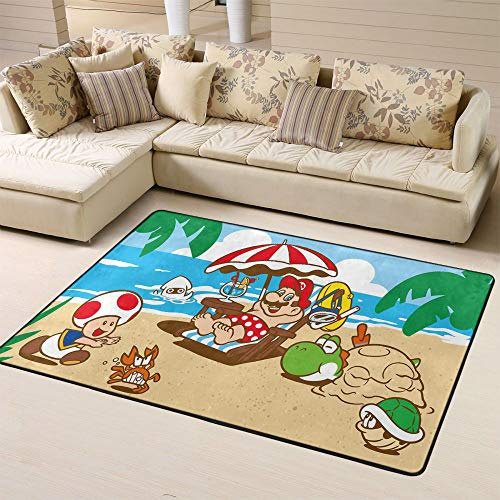 Zmacdk Super Mario - Alfombras de bebé para zona de juegos y campamentos para bebé para la sala de juegos, dormitorio, 5 x 8 pies (150 x G240 cm), Mario Beach Resort