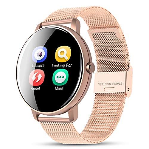 AAP Reloj inteligente para hombres y mujeres con monitor de ritmo cardíaco, podómetro, cronómetro, monitor de sueño, monitor de actividad, reloj inteligente impermeable para iPhone Android oro rosa