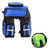 Vitalite - Borsa posteriore tripla da sella per bicicletta, ciclismo, 70 l, multiuso, con copertura antipioggia, Blue