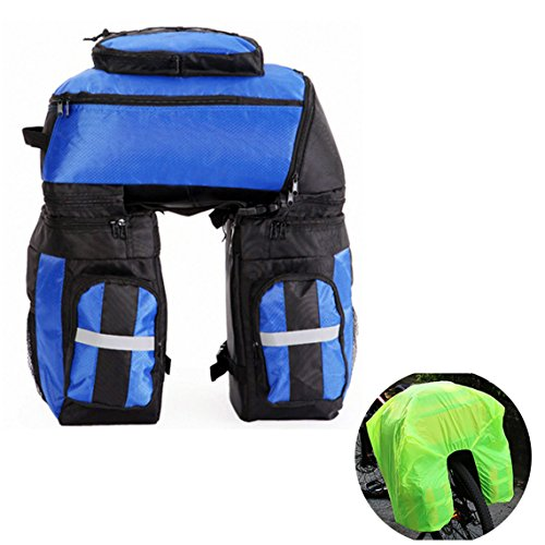 Vitalite-Sac de rangement arrière à trois compartiments 70L Sac multi-fonction pour porte-bagages arrière de vélo avec housse imperméable, bleu