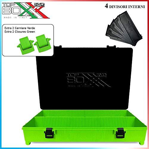 agc Top Boxxx Evo Groen-Black + 4 zwarte scheidingswanden + paar scharnieren