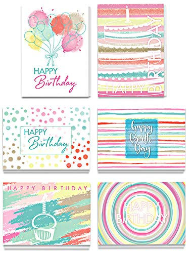 Bilinny 100 Happy Birthday Cards Bulk With Envelopes, Blank Cards Pack In Beautiful Box, 6 Unique Colorful Assorted Watercolor Designs On Front, Matte Finish, Greeting Card Set For Women & Men