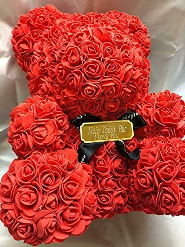 Romeo&Love Rosenbär ROT 40cm Blumen Rose Bär Deko aus 500 künstliche Rosen Blumen Rose Bear + Wunsch Gravur Verliebte Muttertag Valentinstag Geburtstag Jahrestag Hochzeit Liebes Geschenk