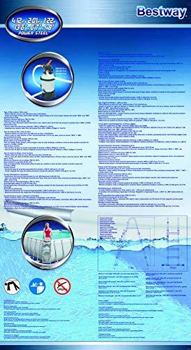 Piscina Power Steel Frame Rettangolare Cm. 412X201X122, Cap. 8,124 Lt, Filtro A Sabbia 220-240V. Include: Scaletta Di Sicurezza, Galleggiante Chemconnect