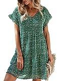 Vestidos Mujer Bohemio Corto Floral/Lunares Verano Playa Fiesta Vestido Casual Magas Cortas Cuello en V Noche Playa Vacaciones Verde XL
