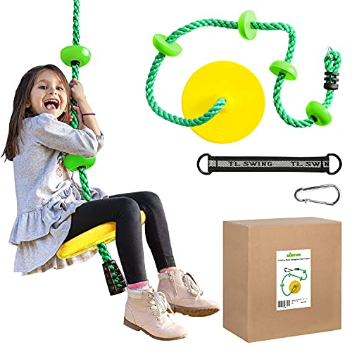 Gardtech Tree Swing Toys for Kids, Climbing Rope Platforms Seat Swing Disc with Connect Strap & Carabiners, Outdoor Swing Set for Backyard and Playground Accessories (Yellow)