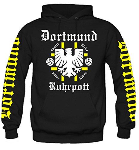uglyshirt89 Dortmund Ruhrpott Kapuzenpullover | Fussball Logo Borussia BVB Zeche Männer Liebe | Ruhrgebiet | Herrn | Trikot | Westfalen (XL)