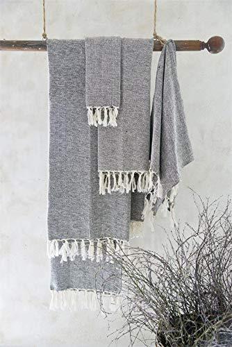 Jeanne d´Arc living Toalla, toalla de baño con flecos, marrón, crema, rosa, vintage, varios tamaños (100 x 200 cm), color marrón