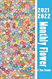 2021-2022 Monthly Flower 2Y Planner: monthly planner 2 years planner easy write with contact book password book (Pretty Butterfly Planners)