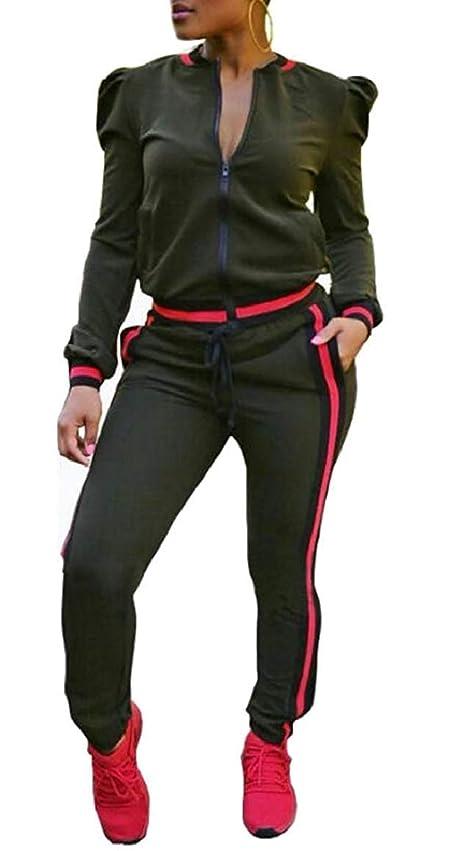 贅沢ビタミン肌寒いレディース2ピース衣装長袖ジッパージャケットパンツセットトラックスーツ 1 US X-Small