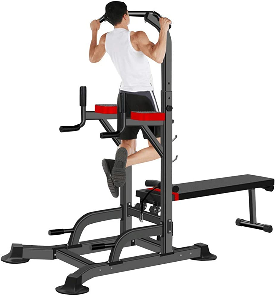 Dip Station Parallel Bars Power Tower Pull Up Bar Home Gym Strength Training with Dumbbell Bench Adjustable Weight Benchs