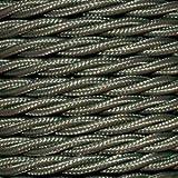 Cable eléctrico Vintage trenzado en PVC. Bobina de 5 metros de 2 núcleos x 0,75 mm de sección en color Khaki