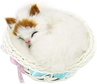 Coolayoung Sleeping Cat in Basket Doll Toy, Kitten in Basket with Meows Sounds Decor for Office Desk Hand Toy Gift for Kid...