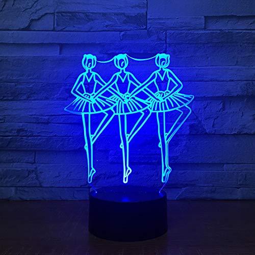 Tango-Walzer 16 Farben Nachtlampe Kind, Illusions Nachtlicht Büro Modern Style Anime 3D Heimdekorationen Farben Urlaub Mädchen Halloween Licht Geburtstag Weihnachtsgeschenk Geschenk Schreibtisch Farbw