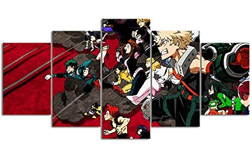 Lienzo de pintura de cinco juntas Boku no Hero Academia Midori Valley Iku HD imprime 39.4 'x19.7' Decoración de pared Debe usarse con el marco