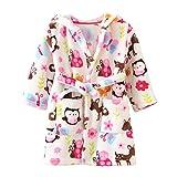 ECHERY Unisexe Filles Garçons à Capuche Peignoir Doux Coral Fleece Pyjamas Enfants Chemise de Nuit Robe de Chambre Vêtements De Nuit Taille 100 Multicolore