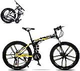 J.W. Faltbares Mountainbike, 26 Zoll 8 Sekunden Schnell Faltendes MTB-Fahrrad 21 Geschwindigkeits-Stahlrahmen Dual-Scheibenbremse Rennrad Für Off-Road-Radfahren,Gelb