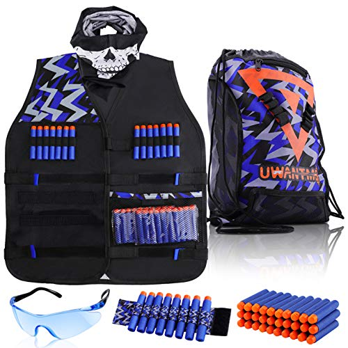 Kids Tactical Vest Kit for Nerf Guns N-Strike Elite Series with Cinch Pack, Reload Clip Tactical Mask Wrist Band and Protective Glasses for Boys