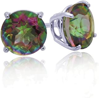 14K White Gold Round Rainbow Mystic Color CZ Prong Set Screwback Stud Earrings (Other Sizes)