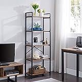 VINEXT Small Bookcase,5-Tier Bookshelf Storage Rack Shelf Unit for Living Room Bedroom Office Kitchen, Industrial Book Shelves Vintage Wood and Metal Bookshelves, Retro Brown