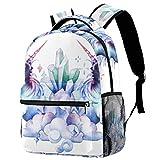 Mochila ligera de 30,48 cm para la escuela, mochila informal resistente para viajar con bolsillos laterales de botella, hojas blancas y azules