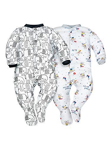 Sibinulo Niño Niña Pijama Bebé Pelele de Algodón Pack de 2 Elefantes Negros y Ratones 62(0-3 Meses)
