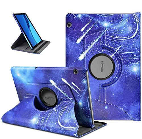 KATUMO 360° Girar Funda para Huawei Mediapad T5 10 Carcasa de PU Cuero Mediapad T5 Case Cover Protectora Carcasa con Stand para Huawei Tablet T5 10 Pulgadas (Lluvia de meteoros)