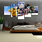 WODES 5 Pièces HD Images Pokemon Détective Pikachu Affiche De Film Peinture sur Toile Poche Monstre Dessin Animé Mur Décoration De La Maison Image 30 * 40 * 2 30 * 60 * 2 30 * 80Cm Pas De Cadre