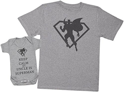 Keep Calm My Uncle is Superman - Passende Vater Baby Geschenkset - Herren T-Shirt & Baby Strampler/Baby Body - Grau - Large & 0-3 Monate
