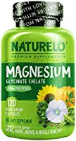 NATURELO Magnesium Glycinate Supplement - 200 mg Natural Glycinate Chelate with Organic Vegetables - Best for Sleep,...