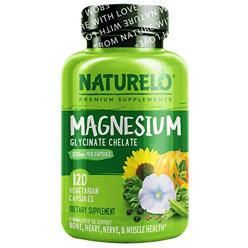 NATURELO Magnesium Glycinate Supplement - 200 mg Glycinate Chelate with Organic Vegetables to Support Sleep, Calm, Muscle Cramp & Stress Relief – Gluten Free, Non GMO - 120 Capsules