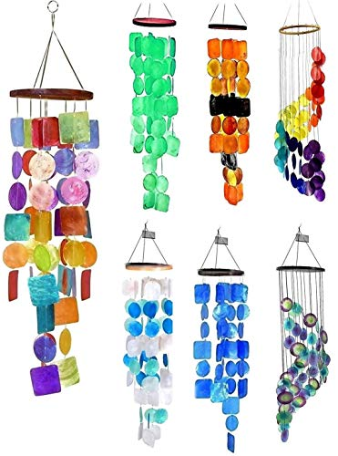 Bellaa 22890 Windchimes Garden Patio Wind Chimes Outside Sympathy Memorial Outdoor Gifts Mom Grandma Holidays Glass Color Capiz 27 inch