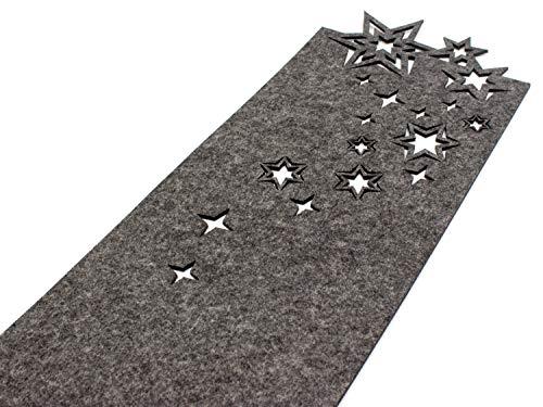 Casoro Camino de mesa de Navidad de fieltro noble en antracita, moderno camino de mesa en diseño de estrellas, aprox. 24 x 140 cm, lavable, sencillo accesorio de mesa en diseño elegante