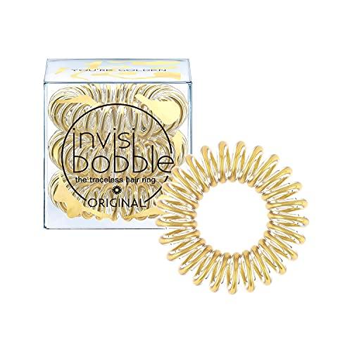 invisibobble Original Haargummis You´re Golden I 3x Spirale Haargummis gold für Mädchen und Damen I starker Halt und haarschonend I das Original, designed im Herzen Münchens