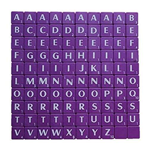 Trimming Shop Alphabet-Steine 100 Stück 1,9 cm  schwarz mit weißen Buchstaben – perfekt als Ersatz, für Kunst und Handwerk, Brettspiele, Scrapbooking, Rechtschreibung, Wandkunst, Puzzle violett