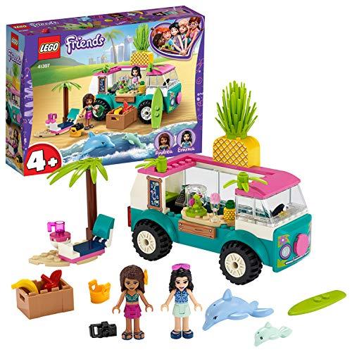 LEGO Friends IlFurgonedeiFrullati, PlaysetconEmma,2Delfini e una Spiaggia,per Bambini dai 4 Anni in su, 41397