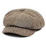 JK® Baker Boy cap Fashion Gatsby Hat Men Tweed Beret Winter Regolabile Warm Newsboy cap Cappelli Maschili ottagonali Cappelli papà-Khaki, Regolabile