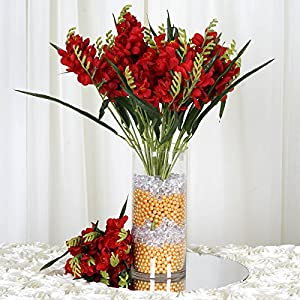 4 Red bushes Silk FREESIA Wedding Flowers Bouquets Reception Party Decorations