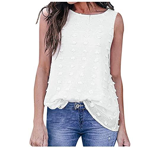 Camiseta de verano para mujer, informal, sin mangas, escote en V, de un solo color, elegante, jacquard, plisada, con tirantes finos, sin mangas. Blanco XXL