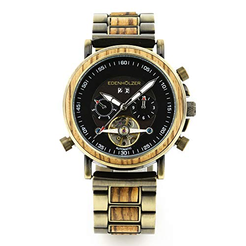 Edenholz Borneo - Reloj de pulsera automático para hombre, con correa de madera, indicador de fecha