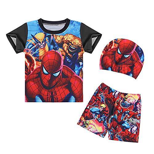 MYYLY Garçon 3 Pièces Cosplay Maillots Bain Vêtement Spiderman Combinaison Maillot Dessin Animé Super-héros Natation Costume Enfant Fille Sport Beachwear,Black-L Kids (120~130CM)
