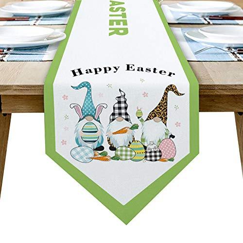 QAZQAZ Feliz Pascua Enano Camino de Mesa de Clara de Huevo para el Comedor en casa Mesa de té Zapatero Cubierta del gabinete Bandera de la Mesa decoración del Banquete de boda-33x304cm